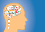 Thinking of Finance, Tax, saving, investment, profit and loss poster