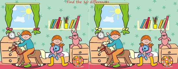 children and toy- find 10 differences