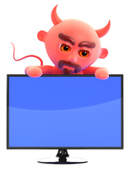 Devil leans over a widescreen monitor