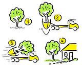 Transplanting large tree. Comic. poster