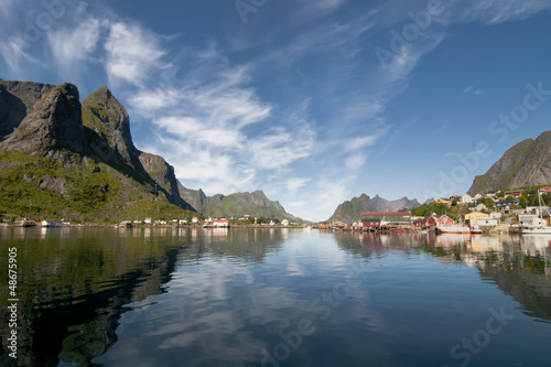Lofoten Island Norway Fjord and village view from the boat