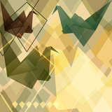 Origami paper birds geometric retro background.