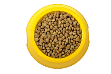 Dry cat food in yellow bowl