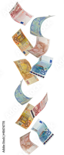 Euro paper currency falling