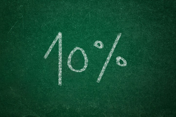 10 percent on green chalkboard