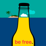 Summer bottle in the sea, vector Eps10 illustration.