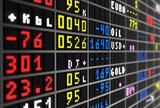 Colored stock ticker board on black poster