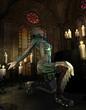 Jade Kriegerin auf Knien
