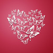 Vector Illustration of an Abstract Heart of Butterflies