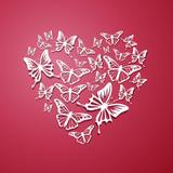 Vector Illustration of an Abstract Heart of Butterflies