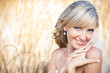 Portrait of beautiful blond bride. Wedding dress.