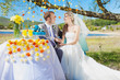 couple bride and groom at wedding decorated table in park