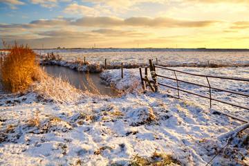 Dutch fields in snow