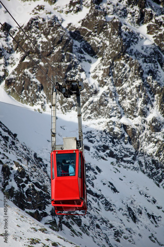 Cable car in High Tatras ski resort in Slovakia