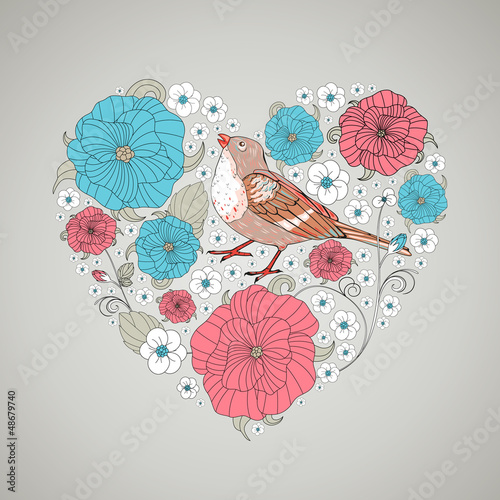 Vector Illustration of an Abstract Floral Heart
