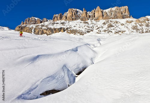Winter shot of Sella group, Dolomites, Italy