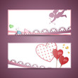 Vector Illustration of Two Abstract Valentine Banners