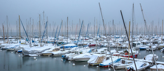 Snow Covered Boats in a Marina