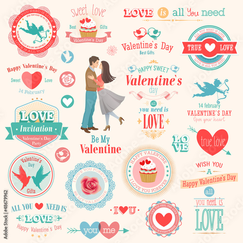 Valentine`s Day set - labels, emblems and other elements.