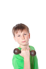 portrait of a teenager with dumbbells on a white background