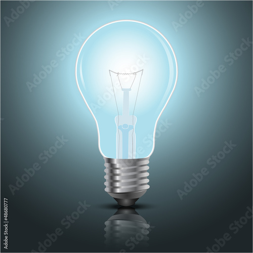 light bulb vector on blue background.
