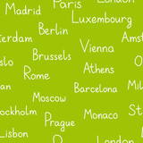 European cities typographic green seamless background, vector poster