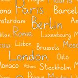 European cities typographic orange seamless background, vector poster