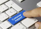 Customer support keyboard key. Finger