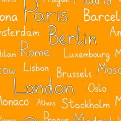 European cities typographic orange seamless background, vector