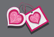 Ornamental hearts. Two tags isolated on the gray