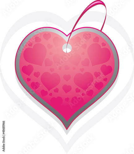 Ornamental heart. Tag isolated on the white