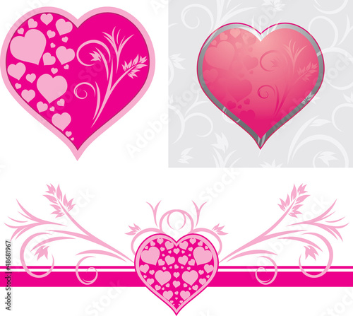 Ornamental hearts for design to the Valentines day