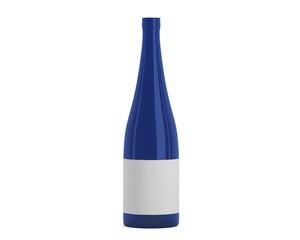 Weinflasche schmal blau mit Etikett