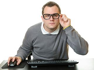 Man using computer at desk