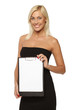 Smiling woman holding white blank paper / banner