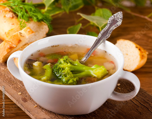 Vegetable broccoli soup and carrots, bread with fennel