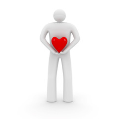 Man with heart shape.