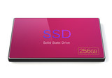 256GB Flash SSD disk with pink color poster