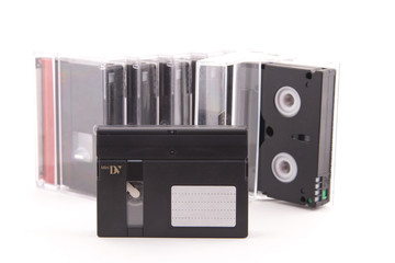 cassette minidv on a white background