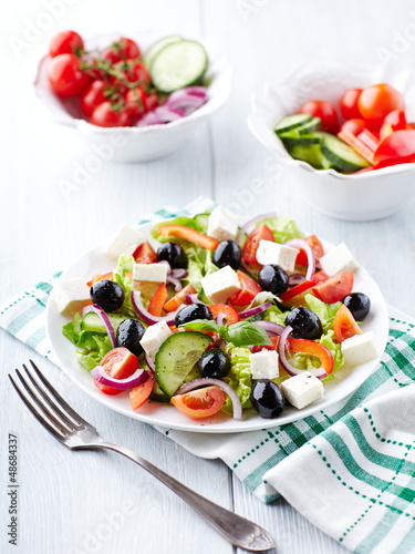 Greek Salad on Kitchen Table