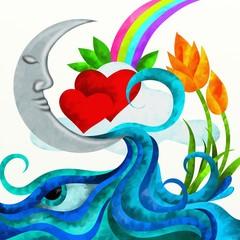 luna e cuori con sfondo bianco
