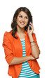 Bright picture of young woman talking on cellphone