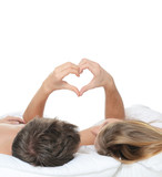 Fototapety Beautiful pair lays in a bed