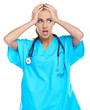 Distressed doctor holding her head