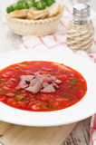 ukrainian national red borscht on the plate vertical