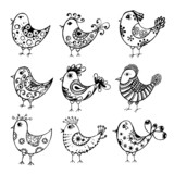 collection of hand drawn cute birds