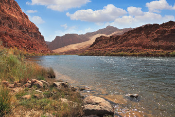 The Colorado River among the steep mountains