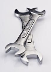 hardened steel wrenches, on white background