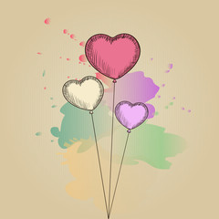 Card with hand-drawn sketch heart shape balloons