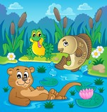 River fauna theme image 2 poster